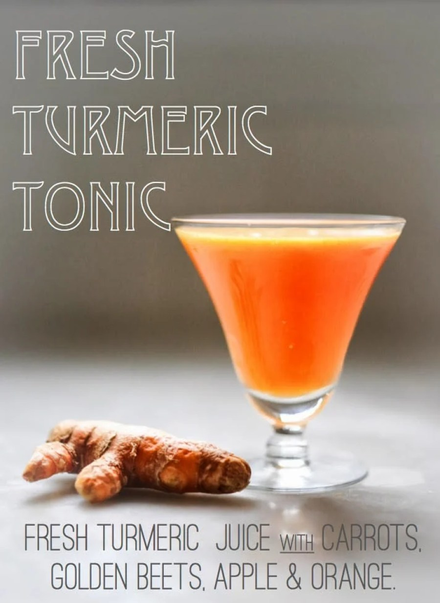 10 Simple Powerful Turmeric Recipes to Heal, Sooth and Protect| Turmeric Tonic- a cleaning healthy fresh juice with turmeric root, carrot, carrot, beet and apple! |feasting at home