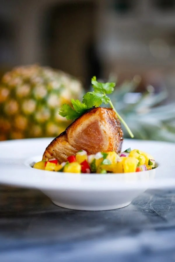Seared Ono with Honey Soy Glaze and Pineapple Salsa