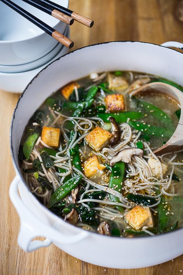 Ginger Sesame Soba Noodle Soup