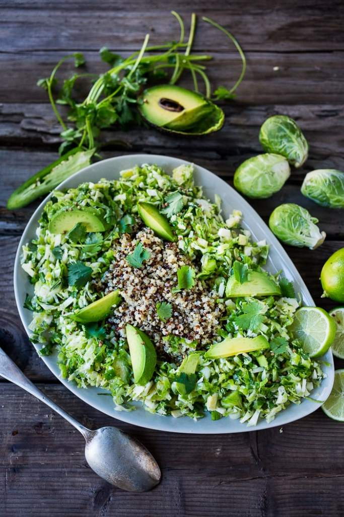 10 Clean-Eating Dinner Recipes| Mexican Brussel Sprout Slaw and Quinoa with avocado, chili and lime...vegan and gluten free, a fast and tasty meal! | www.feastingathome.com
