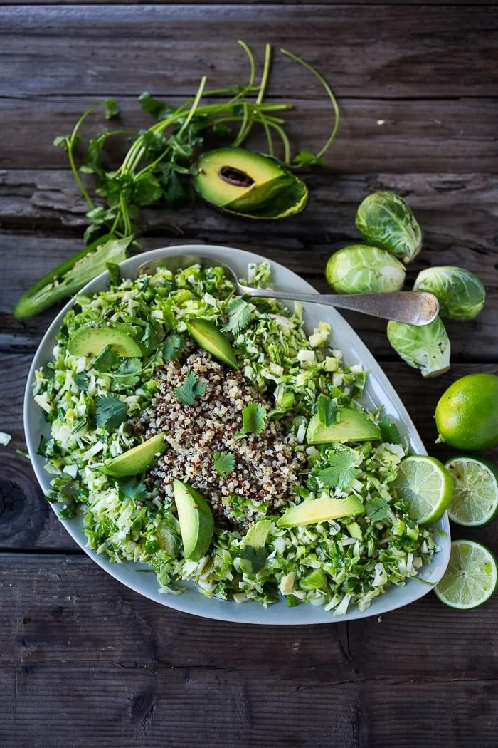 10 Simple Plant-based Clean Eating Recipes- vegan and gluten free- Mexican Brussel Sprout Slaw with Avocado, Rice and Lime | www.feastingathome.com