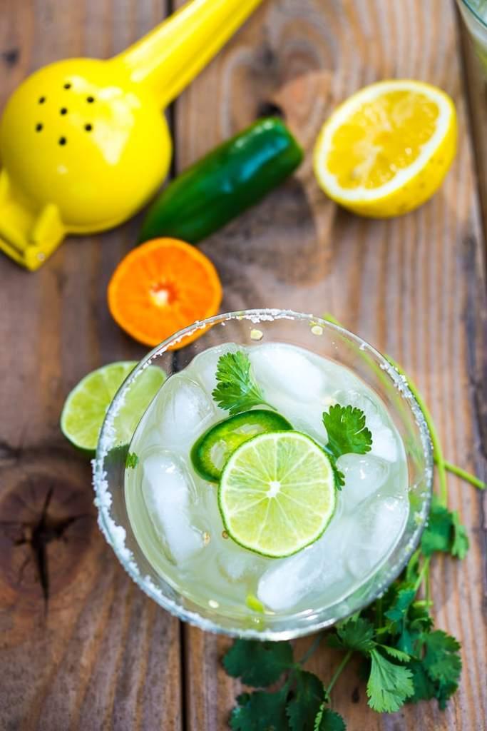 Smokey Spicy Mezcal Margarita w/ jalapeno and cilantro...a refreshing twist! | www.feastingathome.com