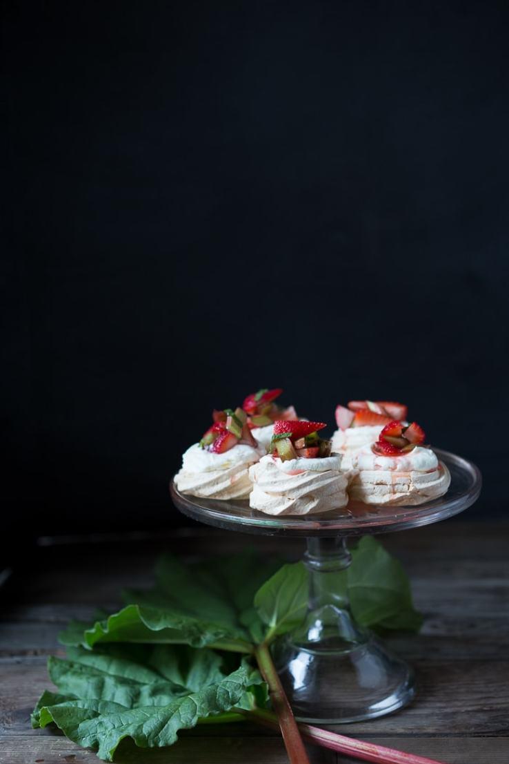 12 Delicious Spring Recipes to celebrate the season! | Mini Rhubarb and Strawberry Meringues, easy and fun to make! | www.feastingathome.com