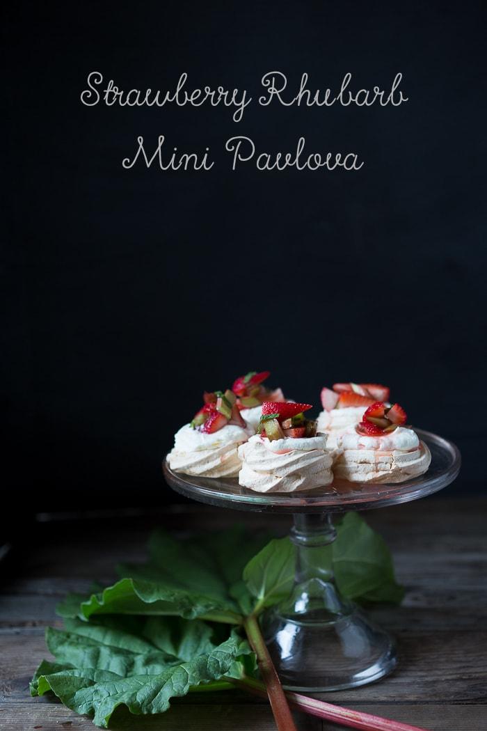 Mini Pavlovas with Strawberry, Rhubarb & Mint