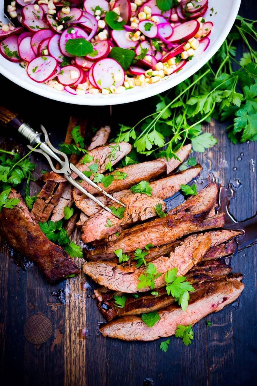 Grilled Flank Steak with Sweet Corn & Radish Salad