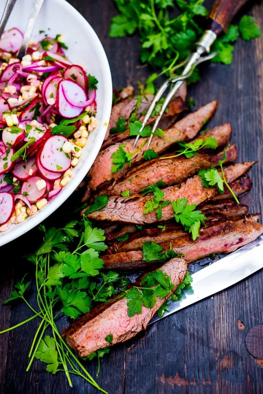 Spice Rubbed Grilled Flank Steakwith Corn & Radish Salad + 15 DELICIOUS summer grilling recipes