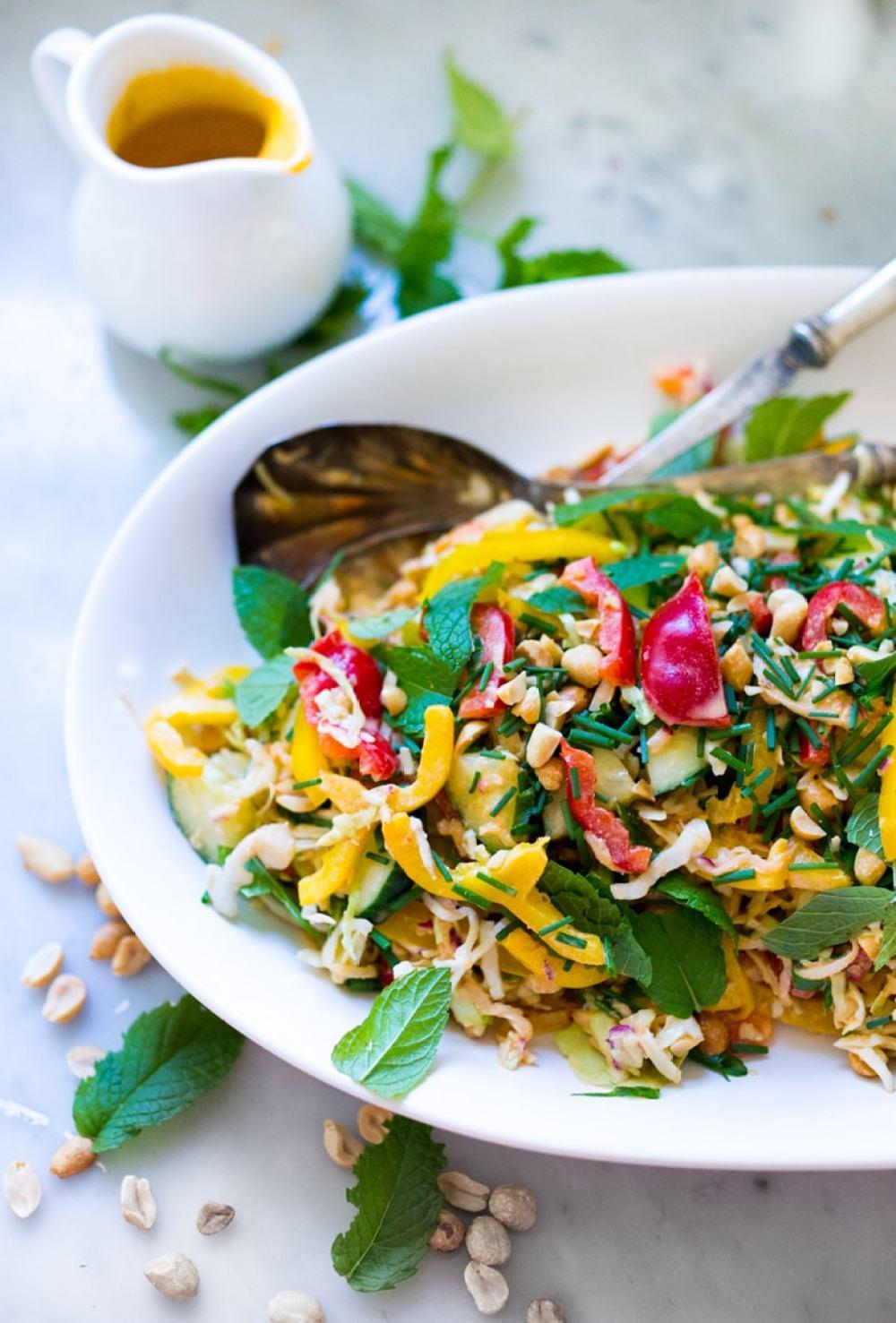 Thai Vegetable Crunch Salad w/ Peanut Dressing