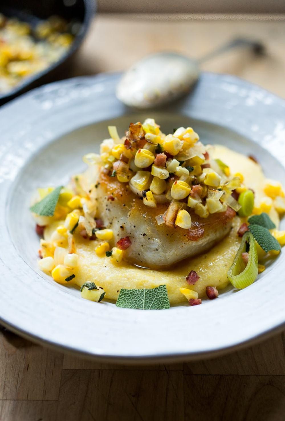 Halibut with Fresh Corn, Leeks, Pancetta & Sage over Creamy Polenta