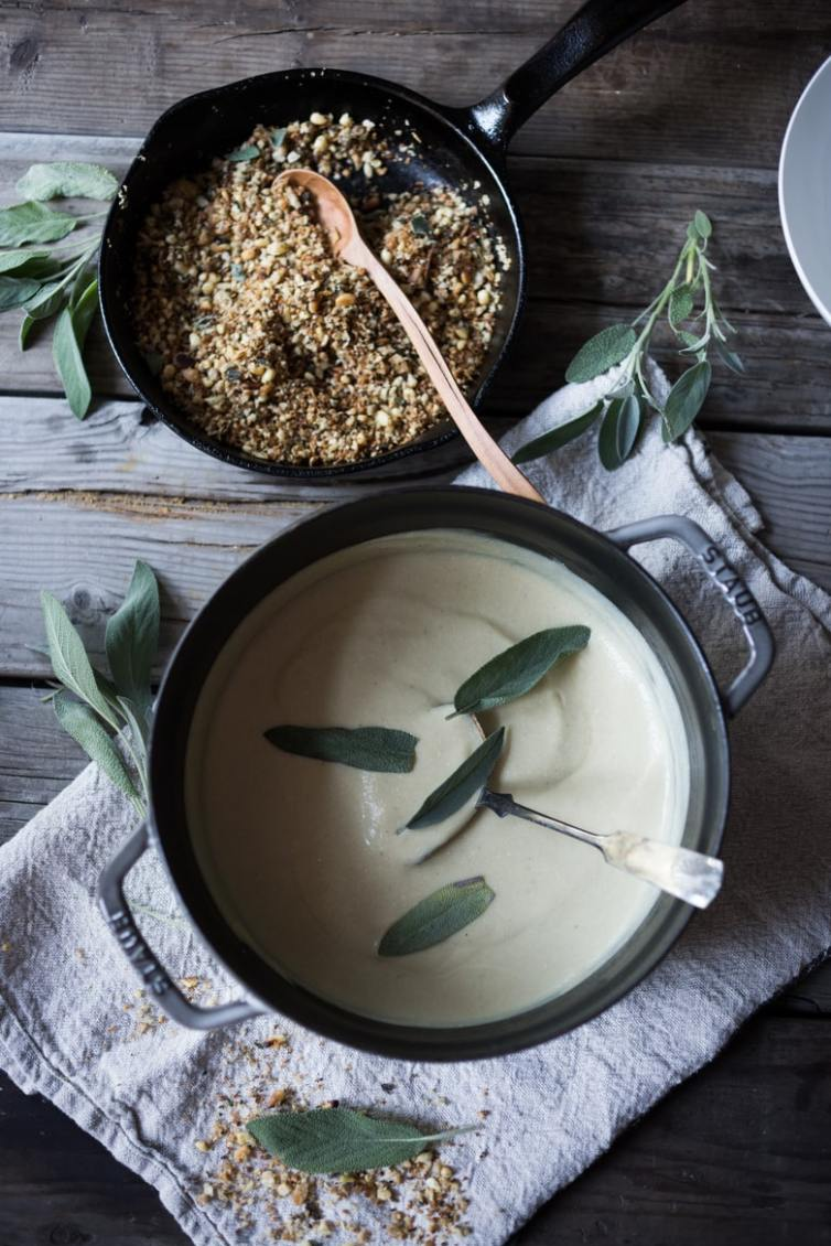 Cozy Fall Soups- Cauliflower Sage and Leek Soup with Pine nut Crumble | www.feastingathome.com