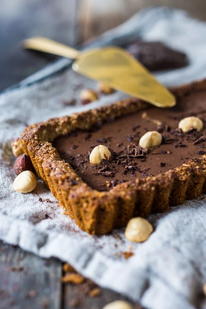 Chocolate Hazelnut Truffle Tart- a deceptively decadent recipe that is both vegan and gluten free. | www.feastingathome.com