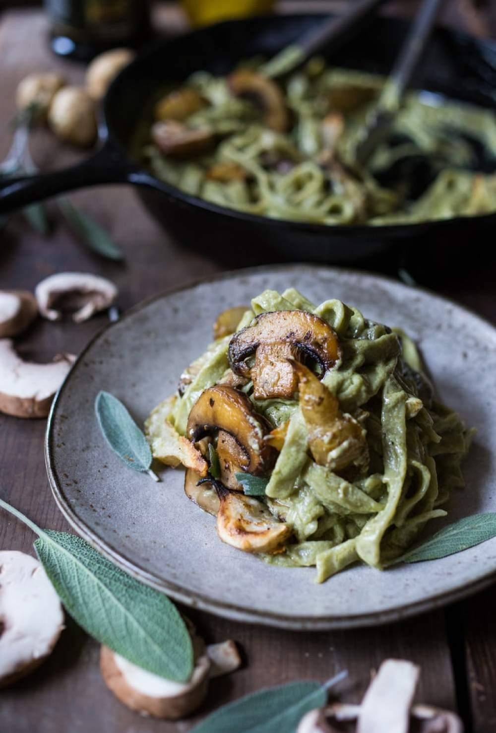 Pasta with Creamy Vegan Artichoke Sauce, Mushrooms and Sunchokes