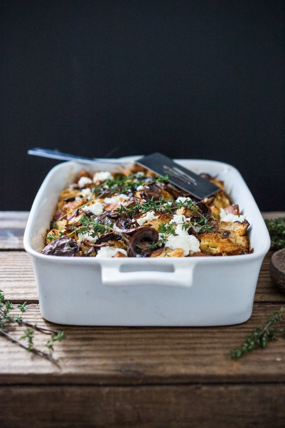 a delicious baked egg casserole called breakfast strata with mushrooms caramelized onions - Strata Egg Dish