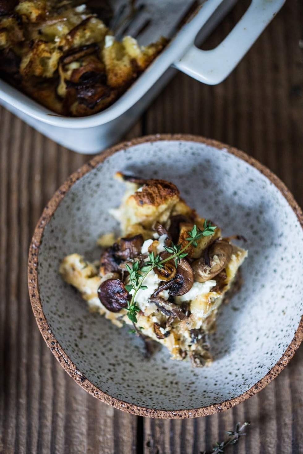 Breakfast Strata w/ Mushrooms, caramelized onion, Goat cheese