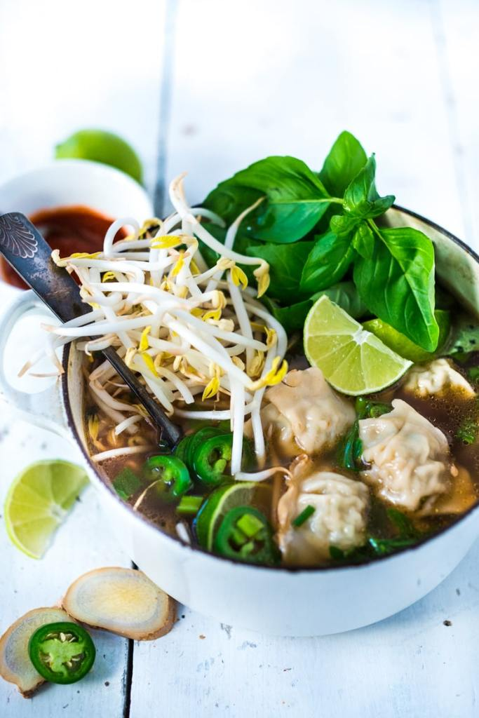 LIGHTING SPEED PHOTON SOUP: a cross between Vietnamese Pho and Wonton Soup that can be made in 15 minutes flat! Healing, nourishing and flavorful. | www.feastingathome.com