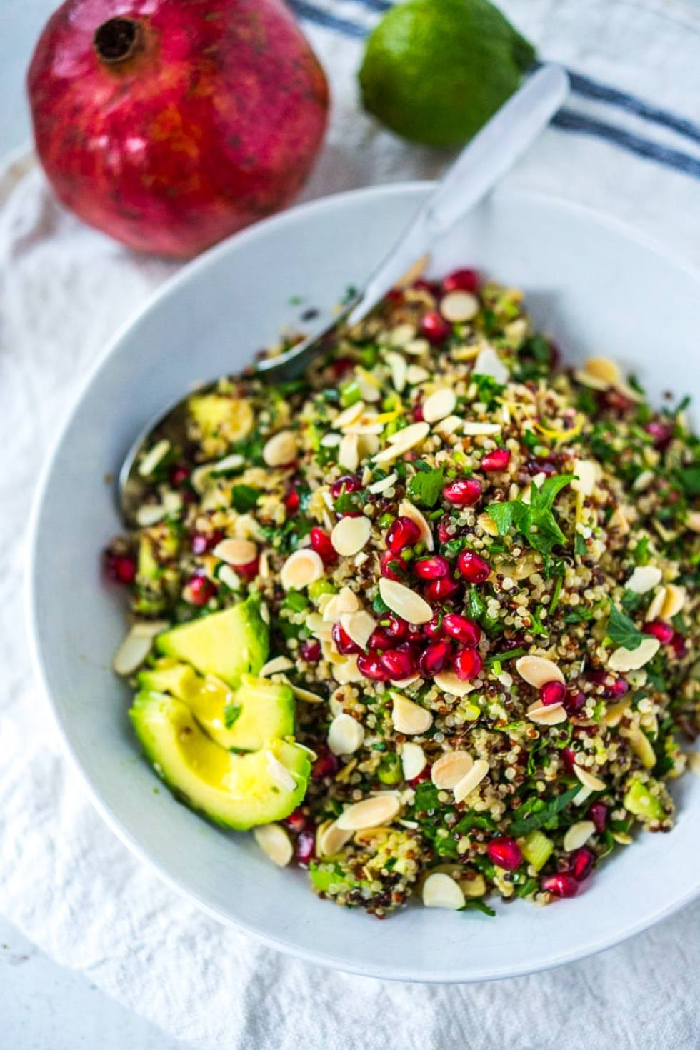 10 Clean Eating Recipes to Restore & Heal the body- Holiday Crunch Salad with Quinoa, almonds, pomegranate, a cleasning vegan and gluten free salad, high in anti-oxcidents and protein! | www.feastingathome.com