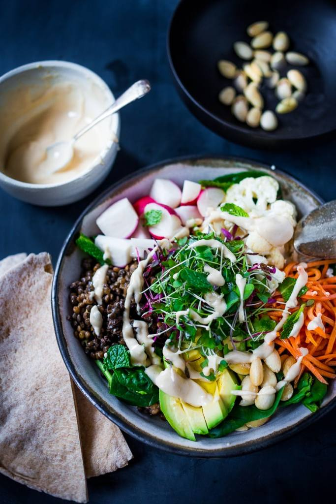 10 CLEAN EATING DINNER RECIPES |Minted Lentil Veggie Bowl with Hummus Dressing | Vegan & GF | www.feastingathome.com