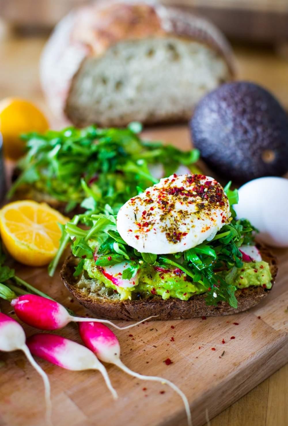 Avocado Toast with Poached Eggs, Arugula, and Zaatar