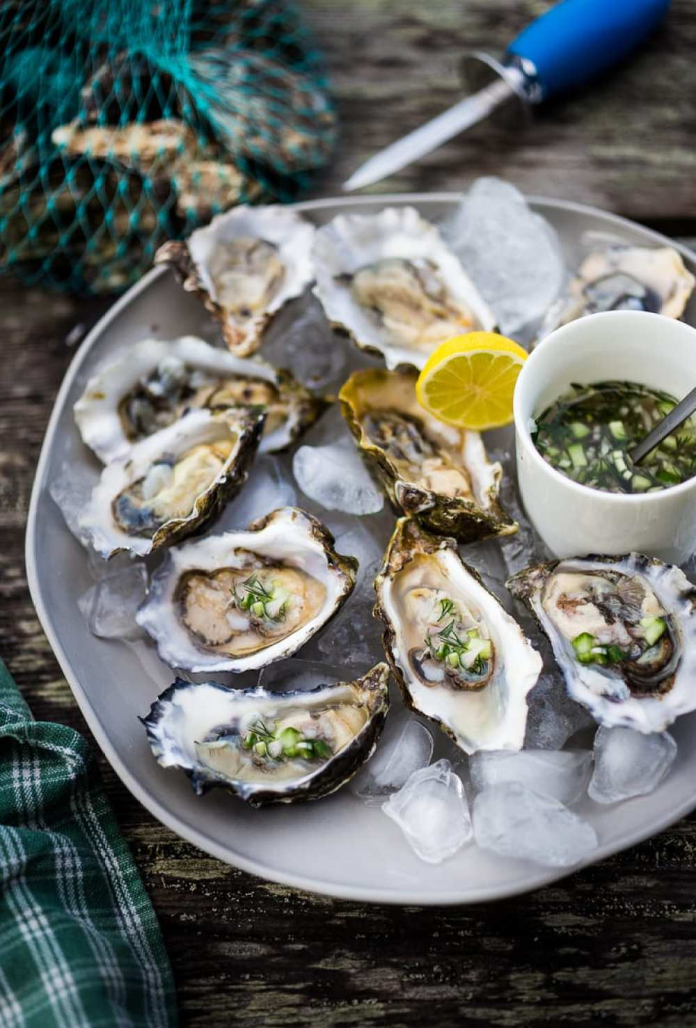 Oysters with Mustard Seed Mignonette