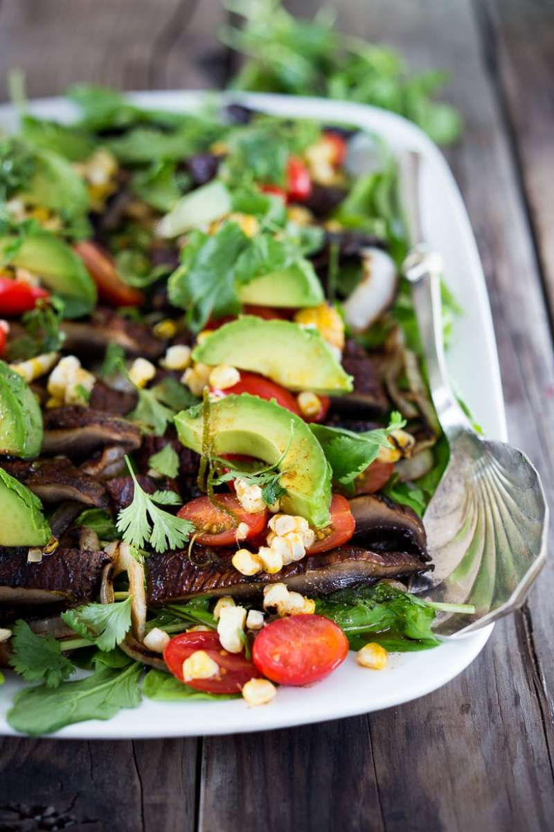"GRILLED PORTOBELLO ""STEAK"" SALAD WITH AVOCADO, LIME & GRILLED CORN"