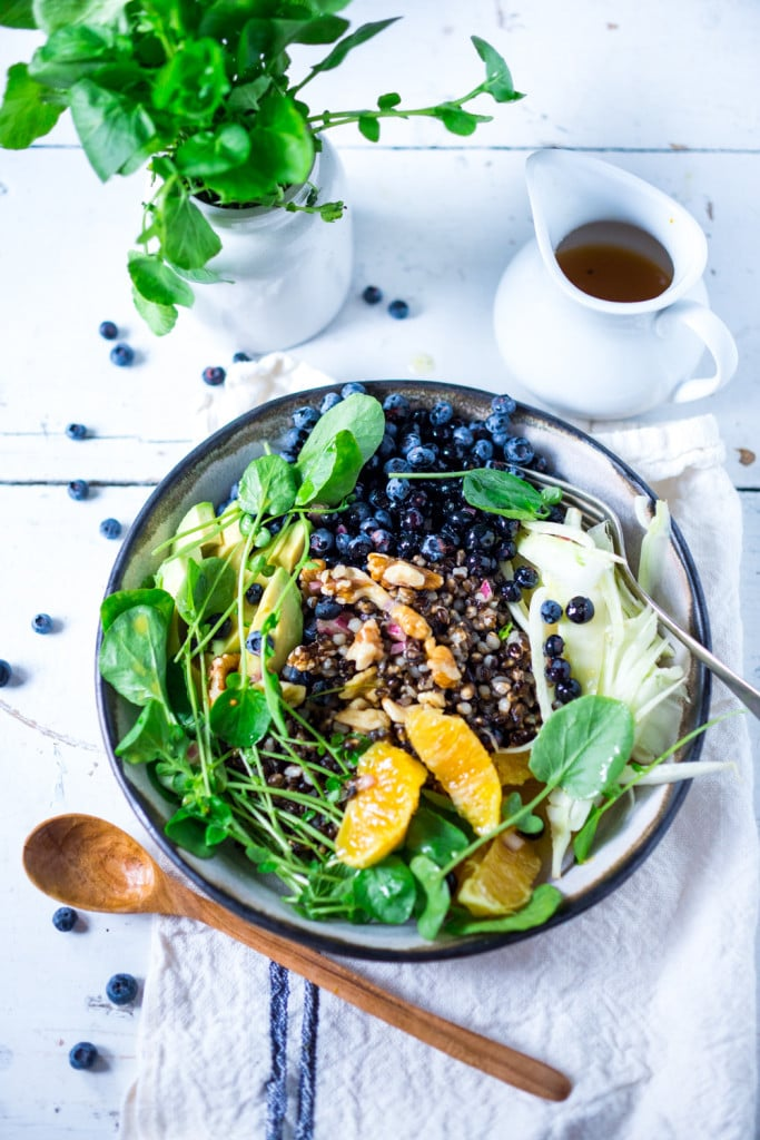 10 CLEAN EATING RECIPES | Vegan= gluten free | This Glow Bowl is packed full of skin nutrients to make glow from the inside out. Blueberries, fennel, oranges, watercress and whole grains. | www.feastingathome.com