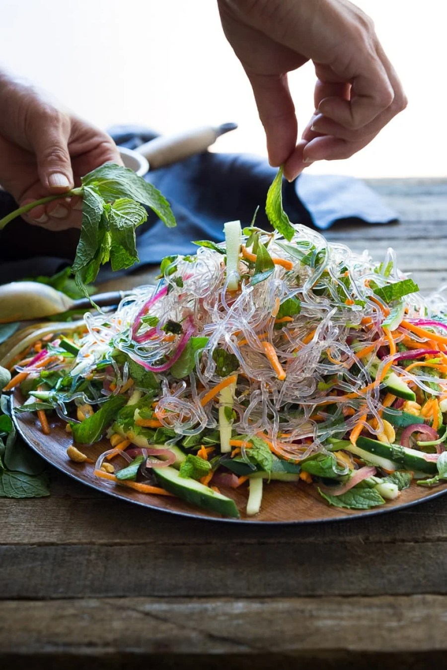 An incredible recipe for Vietnamese Vermicelli Salad w/ Sweet Chili Vinaigrette & Roasted peanuts - bursting with flavor and healthy and light! | www.feastingathome.com