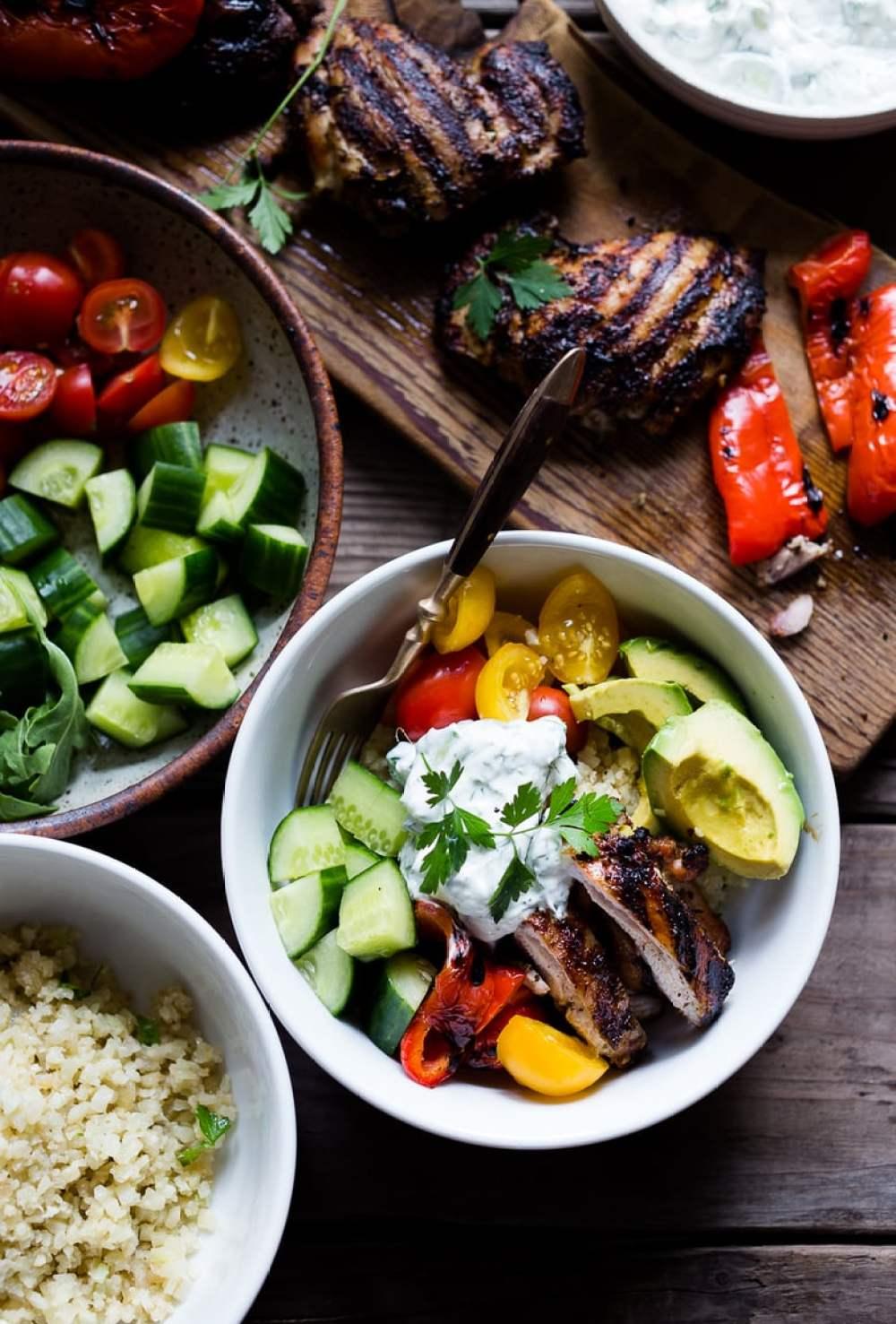 Greek Souvlaki Bowl with Cauliflower Rice