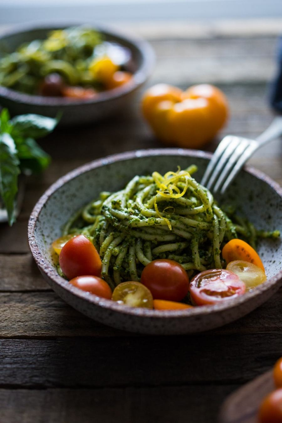 Bucatini Pasta with Arugula Almond Pesto and mini heirloom tomatoes ...