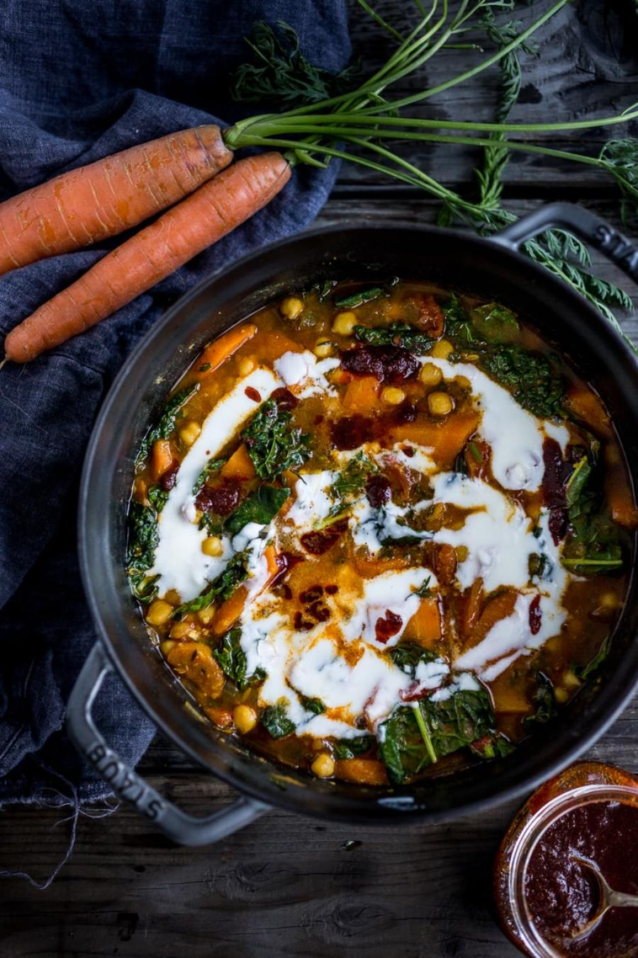 "Tunisian Chickpea Stew with Carrot and tops, turmeric, kale and ""quick Harissa"". 