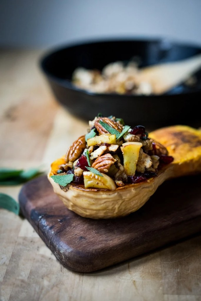 Thanksgiving Stuffed Butternut with ground turkey, sage, apples, cranberries and pecans. | www. feastingathome.com