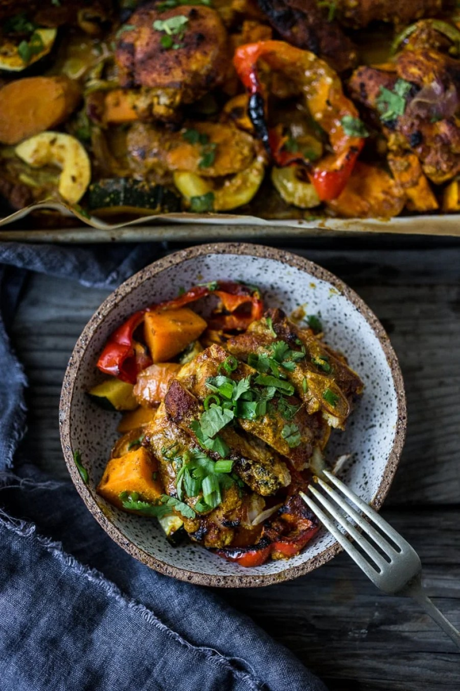 Sheet Pan Tandoori Chicken (or Tofu) Bowls