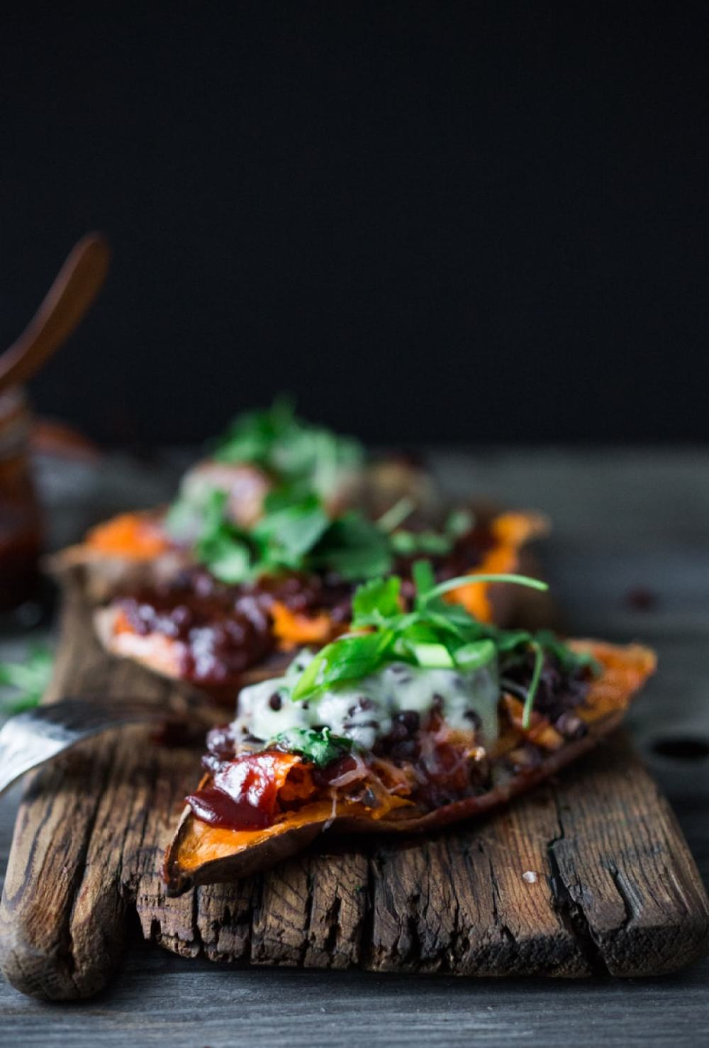 Skinny BBQ Chicken (or Black Bean) Stuffed Sweet Potato