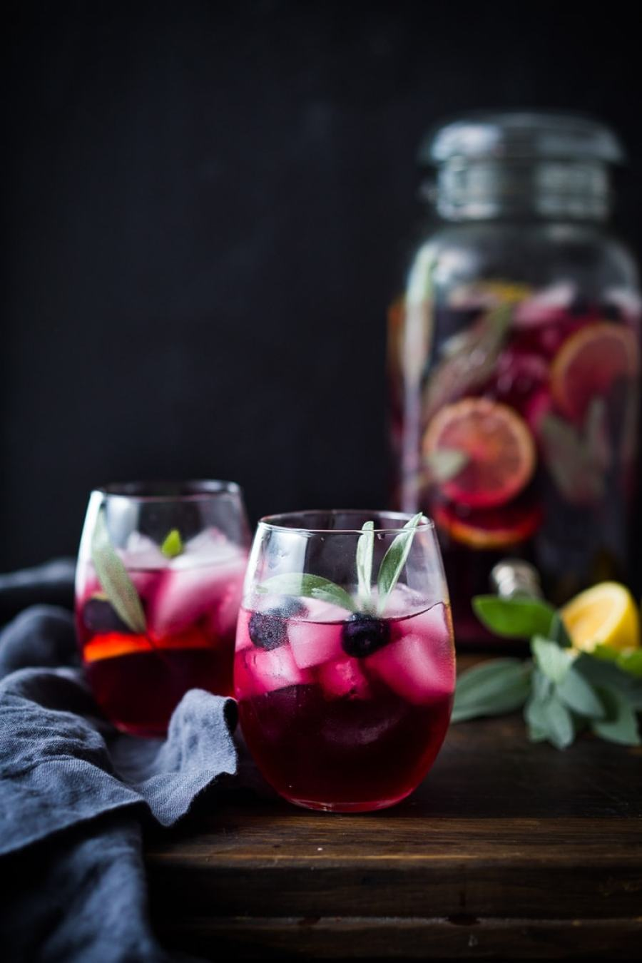 Blueberry Gin and Sage Punch -A refreshing make ahead, holiday punch, with lemon and prosecco, sparkling and effervescent.   www.feastingathome.com
