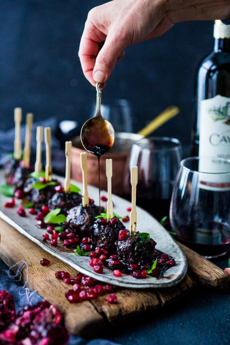 Moroccan Meatballs with Pomegranate Glaze – a New Years Eve Appetizer