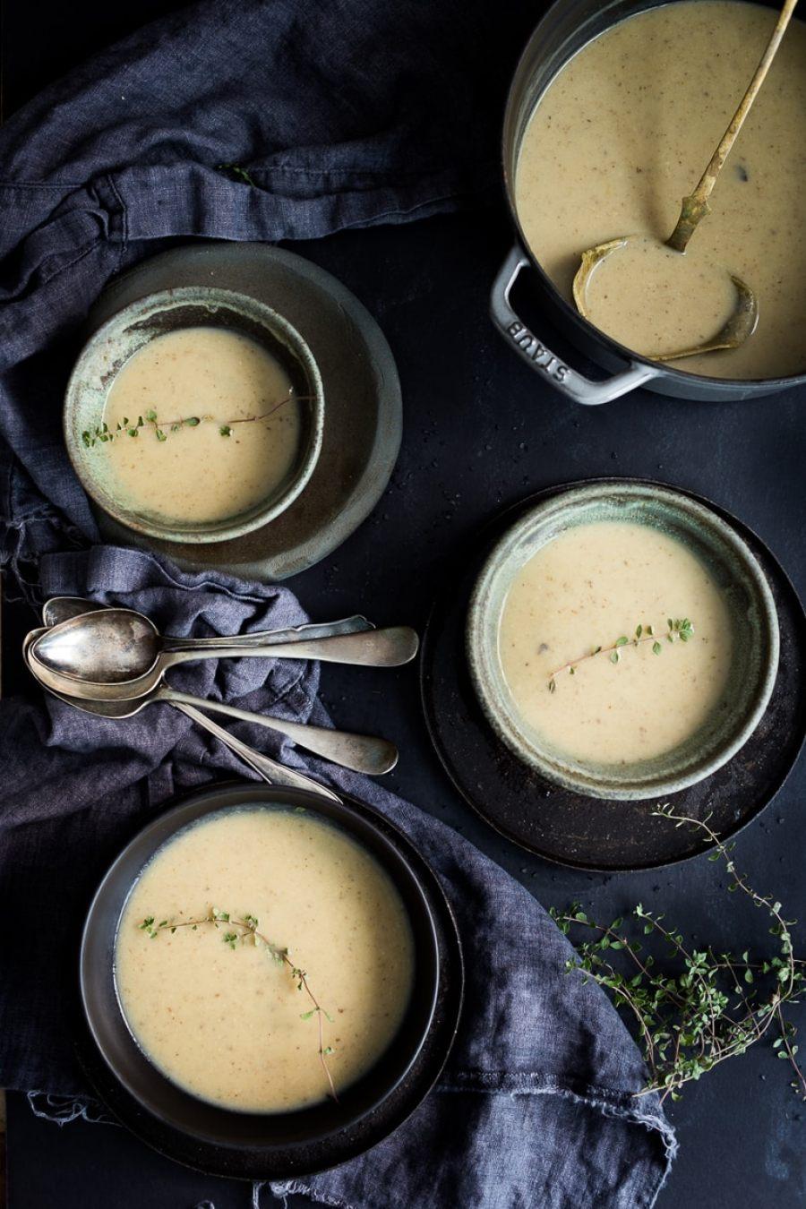 Wild Mushroom & Sunchoke Soup with Truffle oil ...vegan and gluten-free, yet luxurious and decadent.   www.feastingathome.com