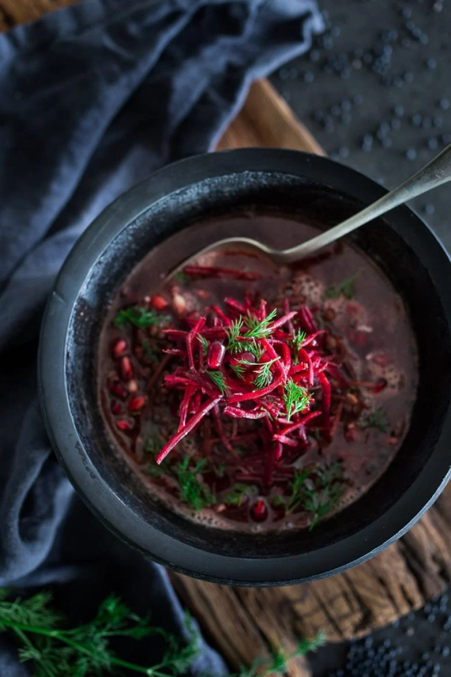 10 FEEL BETTER Brothy Soups to heal, comfort and help build immunity. Beet Broth and Lentil Soup | www.feastingathome.com