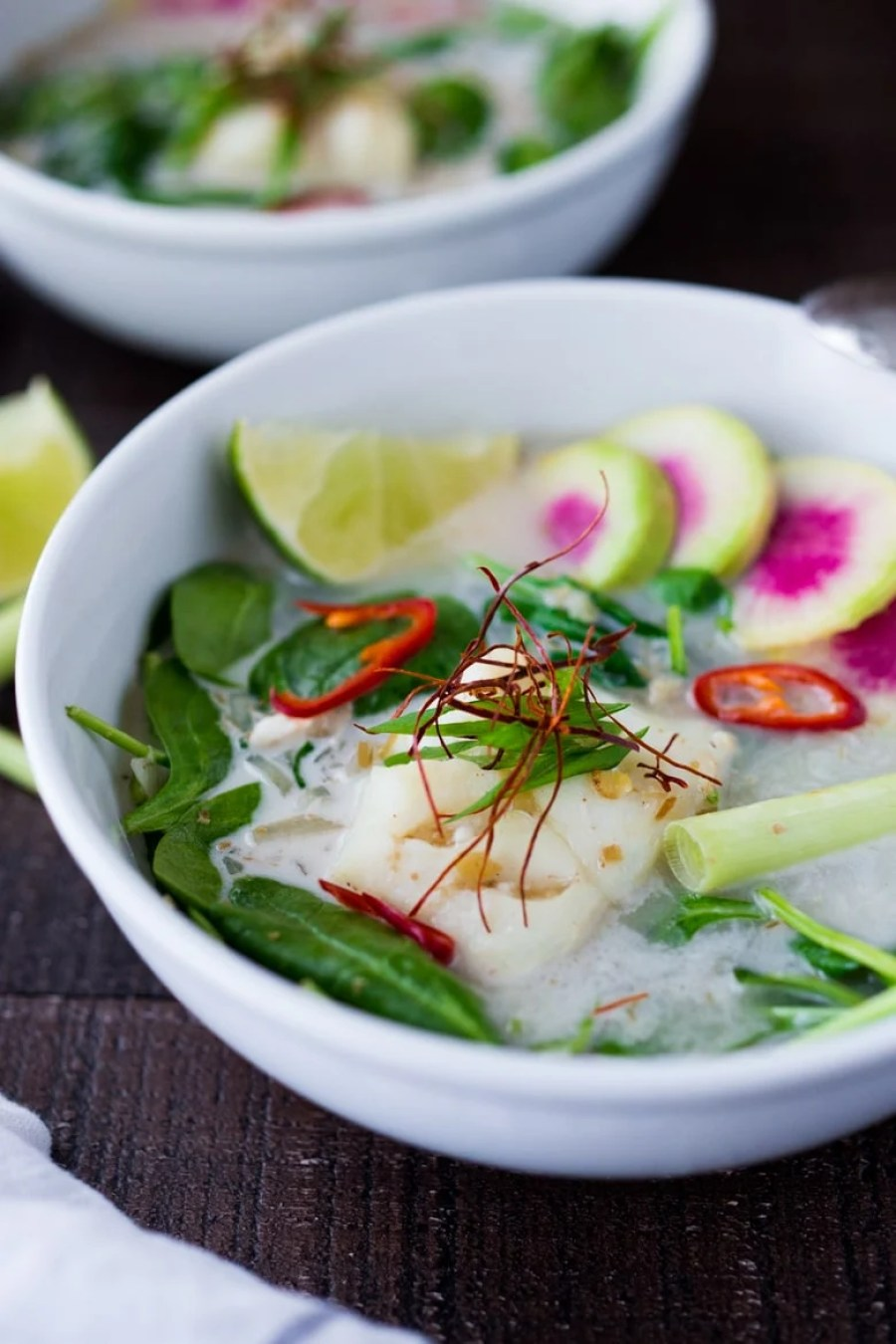 10 FEEL BETTER Brothy Soups to heal, comfort and help build immunity. Lemongrass Coconut Broth with Cod and Spinach | www.feastingathome.com