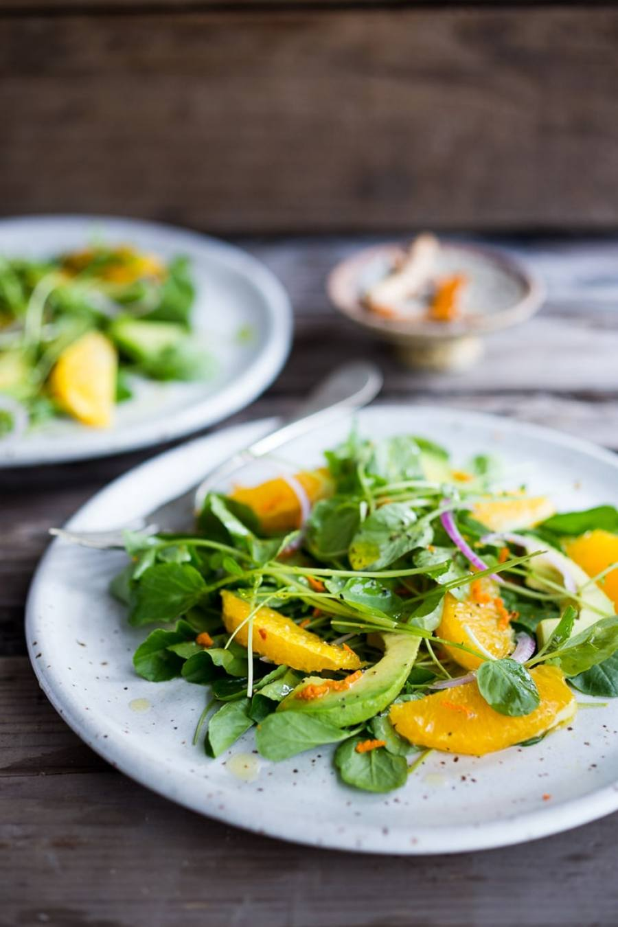 Cleansing Watercress Salad with Citrus, Avocado & Turmeric Dressing | www.feastingathome.com