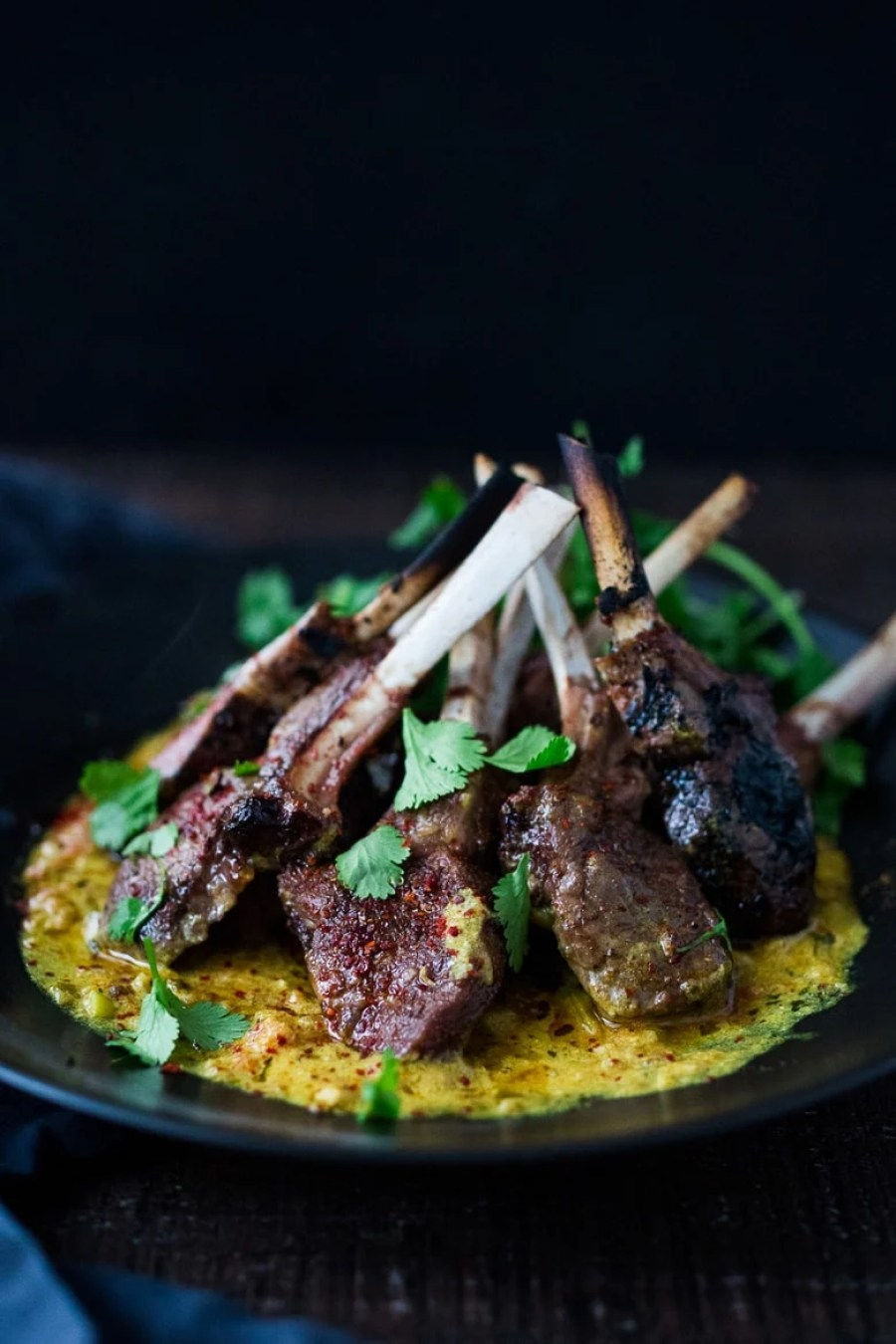 Roasted Lamb Chops with Indian Curry Sauce