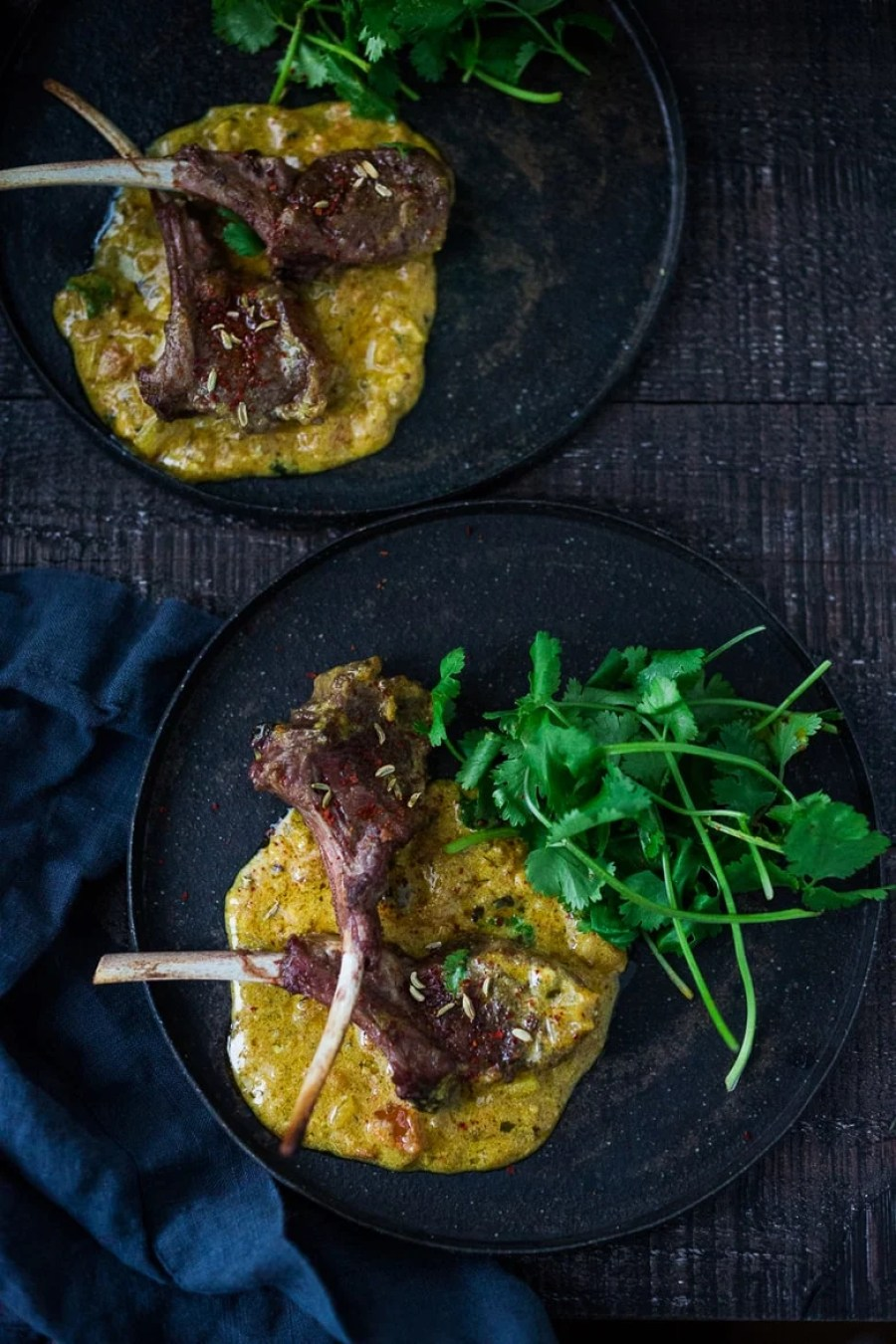 An incredibly delicious recipe for Roasted Lamb Chops with Indian Fenugreek Sauce, perfect for romantic dinners or entertaining at home. Fragrant & Flavorful! | www.feastingathome.com