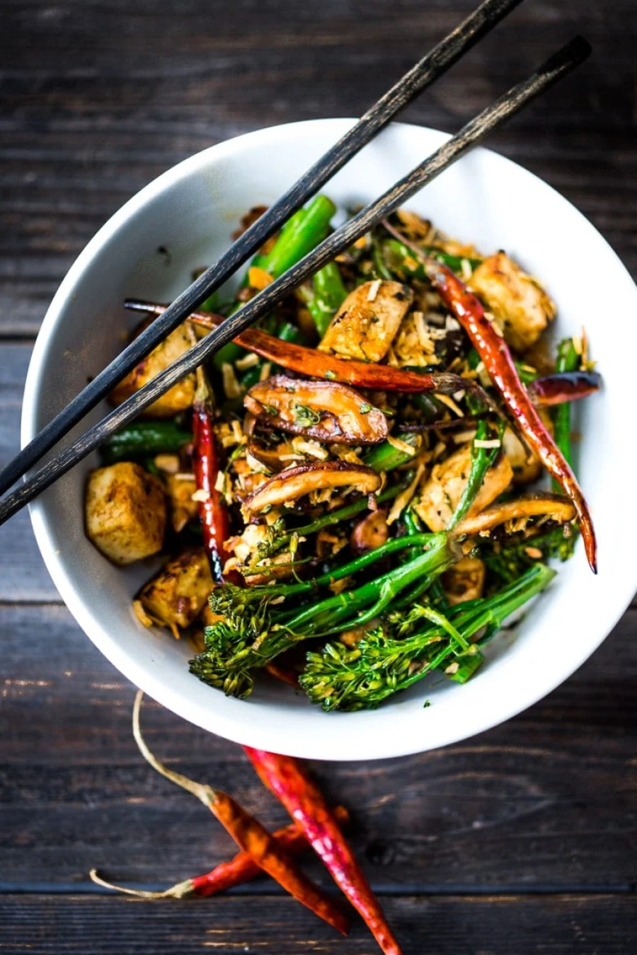 Broccolini Mushroom Stir- Fry with tofu ( or chicken)- a simple fast delicious and healthy dinner! Vegan and GF! | www.feastingathome.com