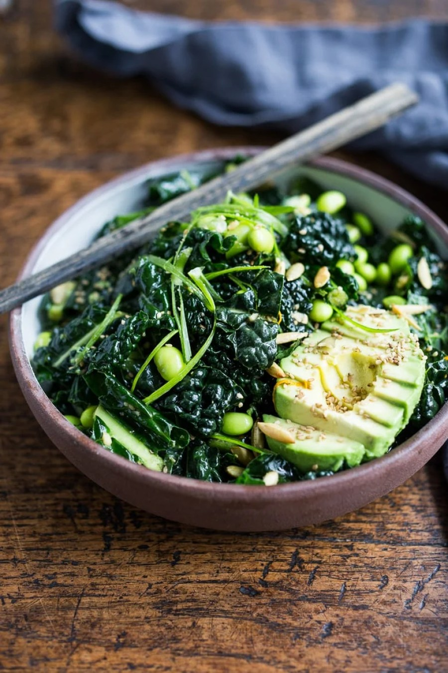 Emerald Kale Salad w/ Sesame Ginger Dressing, Avocado, edamame ...