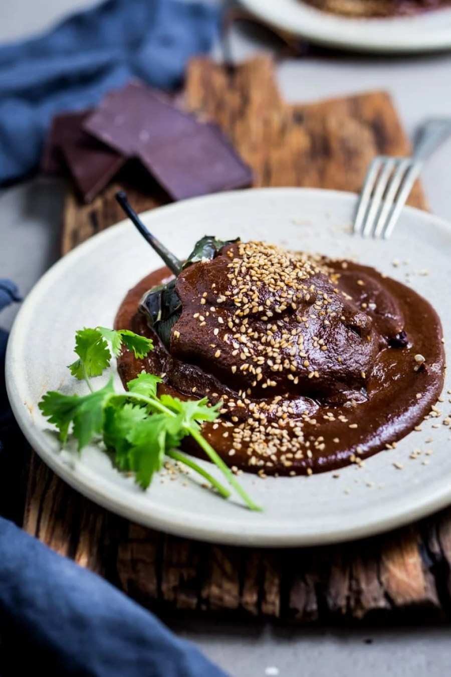 Stuffed Poblano with Mole Negro Sauce   Feasting At Home