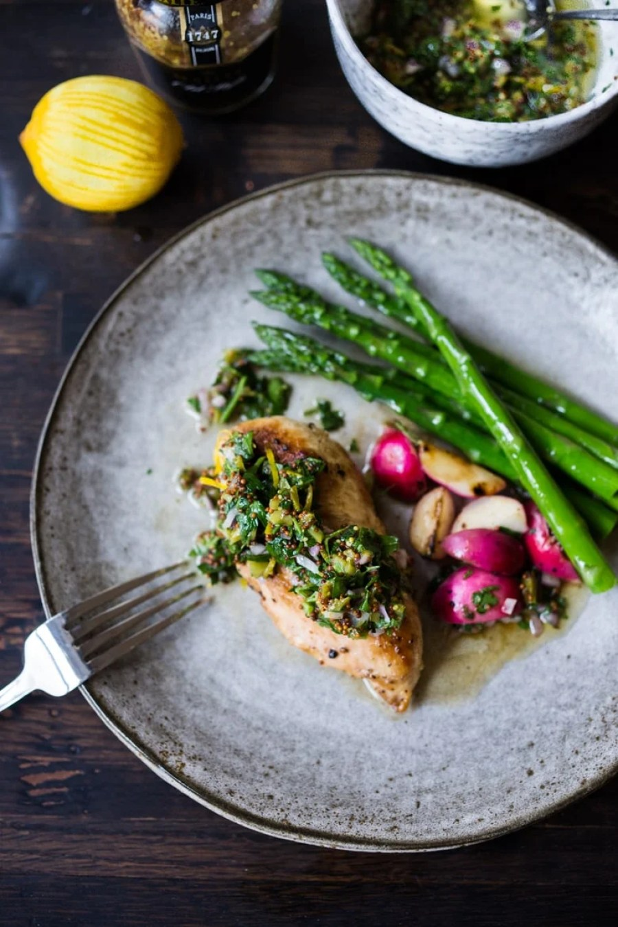 Skillet Chicken with AMAZING Mustard Seed Relish! Fast, healthy weeknight meal full of FLAVOR! | www.feastingathome.com | #flavorheroes #maille