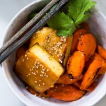 Honey Miso Carrot and Tofu Bowl- a simple sheet-pan dinner!   www.feastingathome.com