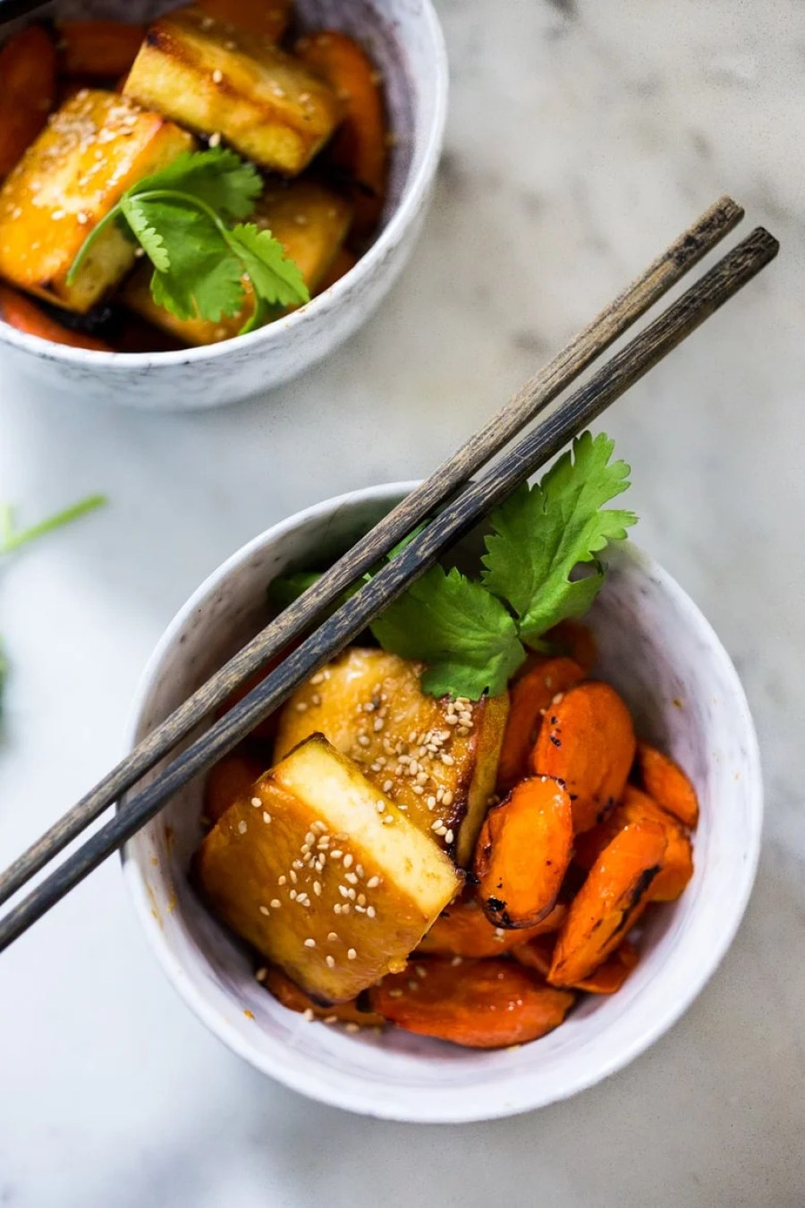 Honey Miso Carrot Tofu Bowl- a Sheet Pan dinner that can be made with tofu, chicken or salmon. Under 300 calories!   www.feastingathome.com