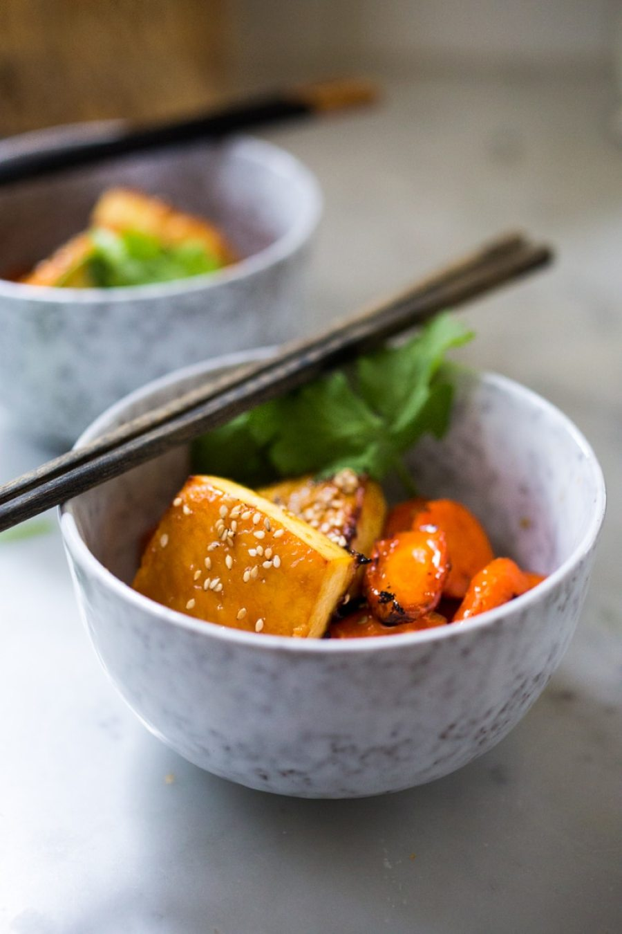 Honey Miso Carrot Tofu Bowl- a simple Sheet Pan dinner that can be made with tofu, chicken or salmon. Under 300 calories! | www.feastingathome.com