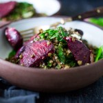 Warm Lentils with chard, roasted beets, goat cheese and spring herbs. | www.feastingathome.com