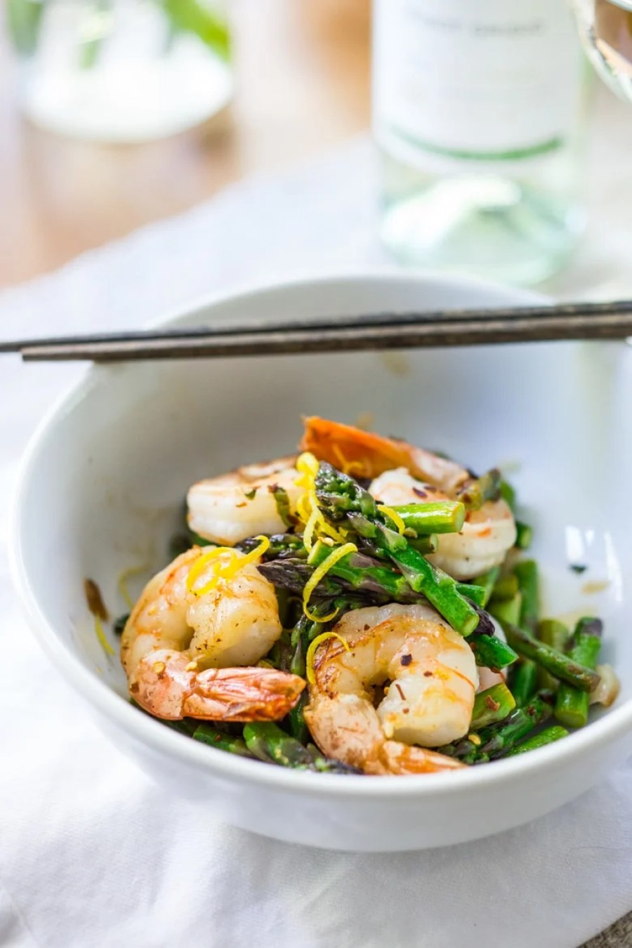 15 Minute Lemon Basil Garlic Shrimp and Asparagus- a delicious and healthy skillet meal that can be made with shrimp, tofu or chicken. | www.feastingathome.com #glutenfree