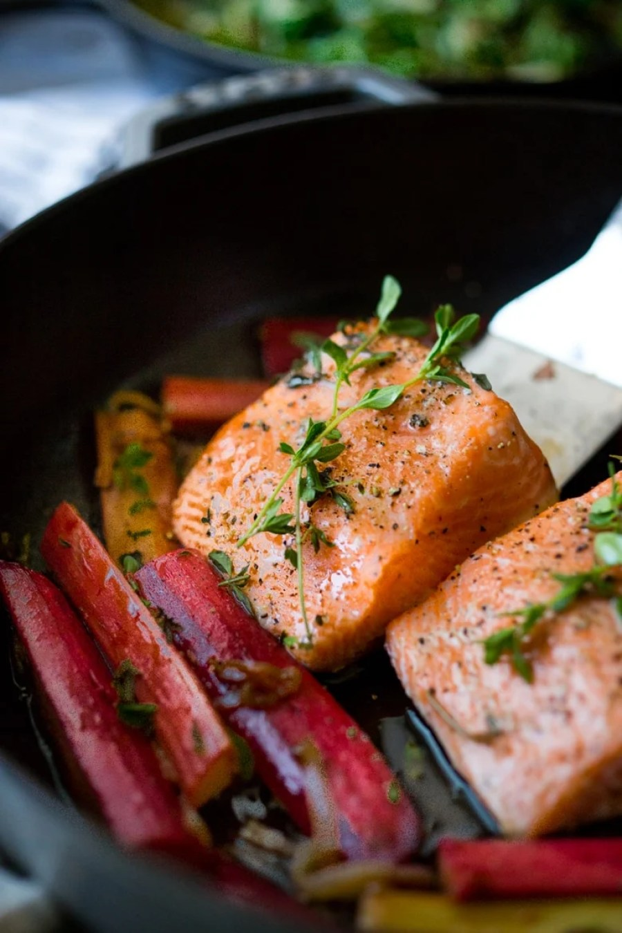 Roasted Salmon with Rhubarb and Chard- a quick healthy meal that can be made in 30 minutes. |www.feastingathome.com