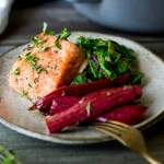 Roasted Salmon with Rhubarb and wilted chard. | www.feastingathome.com